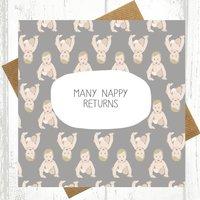 Many Nappy Returns New Baby Card