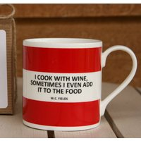 'I Cook With Wine' Funny Mug, Coffee/Yellow/Lilac