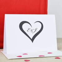 Personalised Heart Card, White/Brown