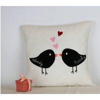 Love Birds Wedding Cushion With Names