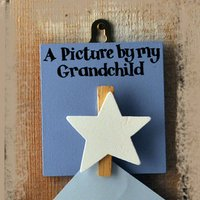 'A Picture By My Grandchild' Blue Wooden Peg, Blue