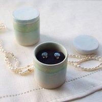 Handmade Earrings And Round Tropical Jewellery Box