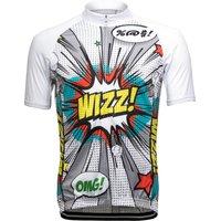 Cycling Jersey. Short Sleeve. Full Zip. Pop Art, White/Grey
