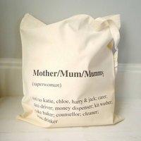 Personalised Mum Definition Tote Bag, Black/Pink