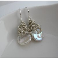 Keshi Pearl Drop Earrings In Sterling Silver, Silver