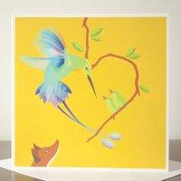 The Fox And The Hummingbird Greetings Card