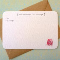 Set Of Six 'Text Message' Notecards, Pink/Cherry/Blue