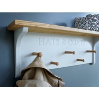 Hat And Coat Rack, White/Grey/Gray