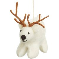 Handmade Felt Polar Bear With Antlers