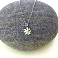Silver And Yellow Gold Daisy Necklace, Silver