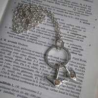 Solid Silver Heart And Bird Necklace With Gold, Silver