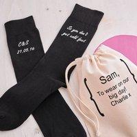 Personalised Cold Feet Wedding Socks, Black/Bright Pink/Pink