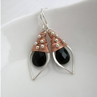 Black Onyx, Silver And Rose Gold Leaf Hoops, Silver