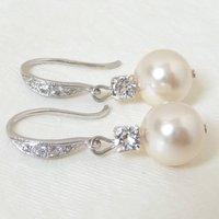 Rhinestone And Pearl Fish Hook Earrings, Gold