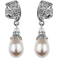 Antique Inspired Pearl Drop Earrings, Silver/Gold