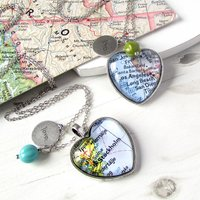 Personalised Location Map Heart Necklace, Olive/Red/Turquoise