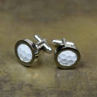 Golf Ball Silver Plated Cufflinks, Silver