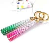 Ombre Leather Tassel Keyring, Pink/White/Green