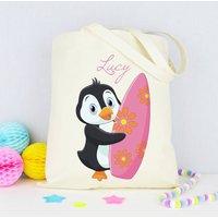 Personalised Penguin Surf Beach Bag