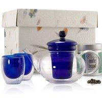 Loose Leaf Classic Blue Glass Teapot Set, Blue