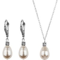 Rhinestone And Pearl Leverback Earring And Necklace Set