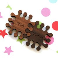 Set Of Two Personalised Solid Walnut Jigsaw Magnets
