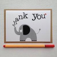 Elephant 'Thank You' Card With Elephant Sticker