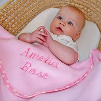 Personalised Spotty Trim Blanket, Baby Pink/Pink/Baby Blue