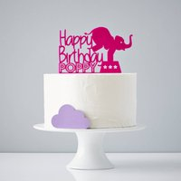 Circus Elephant Personalised Birthday Cake Topper, Purple/Lilac/Pastel Pink