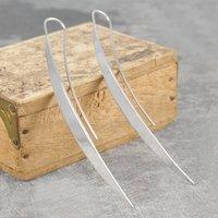 Elongated Leaf Silver Statement Drop Earrings, Silver