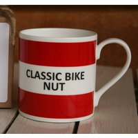 'Classic Bike Nut' Fine Bone China Mug, Coffee/Yellow/Lilac