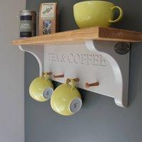 Tea And Coffee Shelf With Mug Rack, Grey