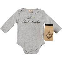 Little Heart Breaker Babygrow In Gift Carton, Grey/White/Pink