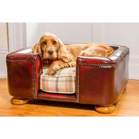Tetford Chesterfield Dog Bed Oxblood Leather Dog Sofa