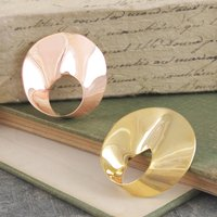 Rose/Yellow Gold And Sterling Silver Wave Brooch, Silver