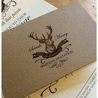 Stag 'The Hunt Is Over' Wedding Stationery, Brown/Cream
