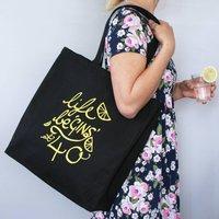 Personalised Life Be Gins At... Shopping Bag, Black/Yellow/Gold