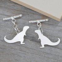 Personalised T Rex Dinosaur Cufflinks In Silver, Silver