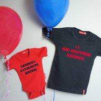 Big / Little Brother Or Sister T Shirt And Babygrow Set, White/Aqua/Blue