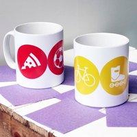 Personalised 'Hobbies Mug' Ceramic, Purple/Violet/Dark Blue