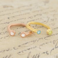 Double Gemstone 18 K Yellow Gold Topaz Ring, Gold