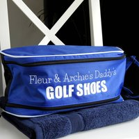 Personalised Golf Shoe Bag, Red/White/Royal Blue