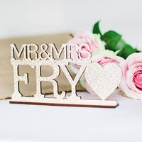 Personalised Vintage Mr And Mrs Wedding Sign, Blue/Ebony/Gold