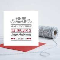 25th Wedding Anniversary Personalised Card