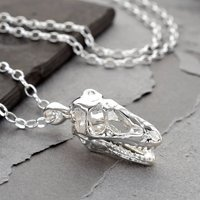 Sterling Silver T Rex Skull Necklace, Silver