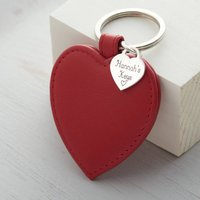 Personalised Sterling Silver Heart And Leather Keyring, Pink/Red/Pale Blue