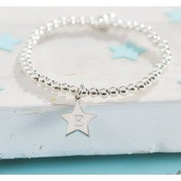 Girl's Personalised Sterling Silver Star Charm Bracelet, Silver