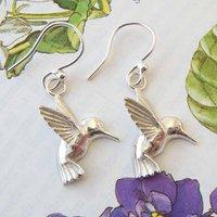 Hummingbird Earrings In Silver, Silver