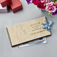 Personalised Wooden Money Christening Gift Envelopes, Blue/Pink