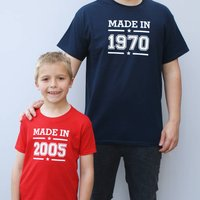 Personalised Made In T Shirt Set, Indigo/Navy/Purple